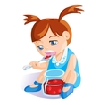 girl eating cherry jam vector image