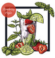 square framed card with strawberry mojito vector image