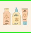Sunscreen bottles outline vector image