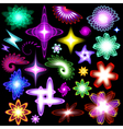 A set of neon shining brilliant design elements vector image