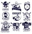 set of heraldic knight labels in vintage vector image