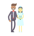 Wedding couple flat characters groom and bride vector image vector image