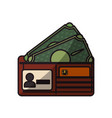wallet with credit card and bills cash money vector image