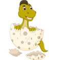 cute baby dinosour egg hatch cartoon standing vector image