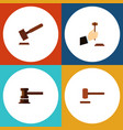 flat icon court set of law justice government vector image