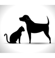 silhouette dog and cat pet icon vector image