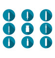syringe and vials flat icons with long shadow vector image