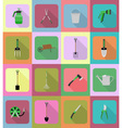 garden tools flat icons 20 vector image