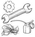 doodle mechanic wrench oil rag gear vector image vector image