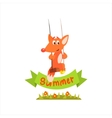 Fox Swinging With Summer Banner vector image
