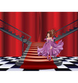 Girl Stands near Stairs vector image