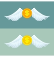 Gold coin with wings vector image