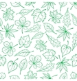 Sketched green leaves seamless pattern background vector image