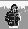 stencil man in jacket vector image