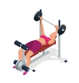 Young woman with barbell flexing muscles in gym vector image