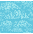 Blue sky with stylize cute curly clouds vector image