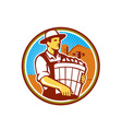 Organic Farmer Harvest Basket Circle Retro vector image vector image