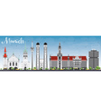 Munich Skyline with Gray Buildings vector image vector image