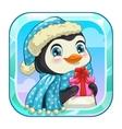 Cartoon app icon with cute penguin vector image