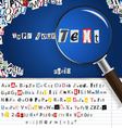magnifier with set of letters vector image vector image