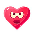 angry and annoyed emoji pink heart emotional vector image