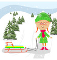 little girl standing with sledge ready to ride vector image