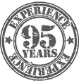 Grunge 95 years of experience rubber stamp vector image