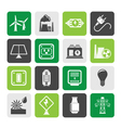 Silhouette electricity and energy icons vector image vector image