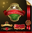 Christmas label with lovely winter landscape vector image vector image