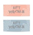Pink and blue Gift voucher template with lace vector image