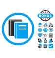 Books Flat Icon with Bonus vector image