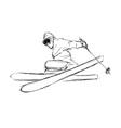 Hand sketch skier vector image