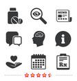 medicine icons tablets bottle brain rx vector image