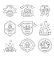 Mountain Tourism Monochrome Linear Labels vector image