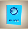 passport sign sky blue icon vector image