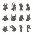 Farm Animals Heads Black Icons Set vector image