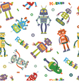 Pattern of robots in cartoon style vector image