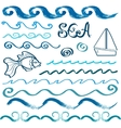 Set of hand drawn sea design elements vector image
