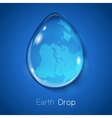 Earth within water drop on blue background vector image vector image