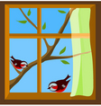 birds on window vector image vector image