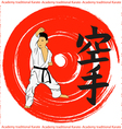 The emblem of the traditional karate boy on a red vector image