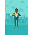 Businessman taking off jacket vector image vector image