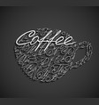 coffee cup drawn by letters vector image