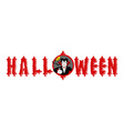 Halloween emblem Dracula winks and shows thumb up vector image