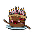 kawaii cake chocolate candles happy party vector image