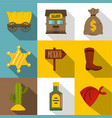 retro wild west icons set flat style vector image