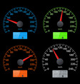set of speedometer scales black speed gauges with vector image