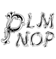 Flowers alphabet with outline letters P L M N O vector image