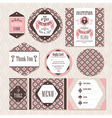 Set of vintage wedding cards vector image