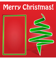 christmas card with green origami tree vector image vector image